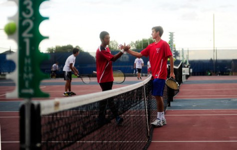 Cherry Creek and Kent Denver shake hands before the match.