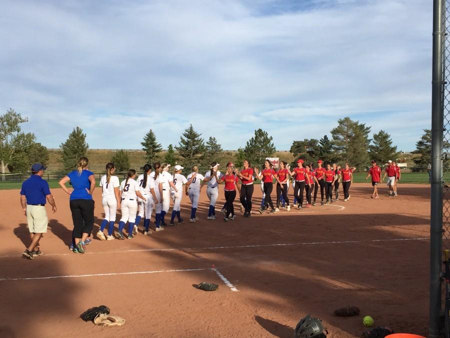 The+2015+Cherry+Creek+Softball+team+shakes+hands+after+their+9-7+win+over+Castle+View+High+School.