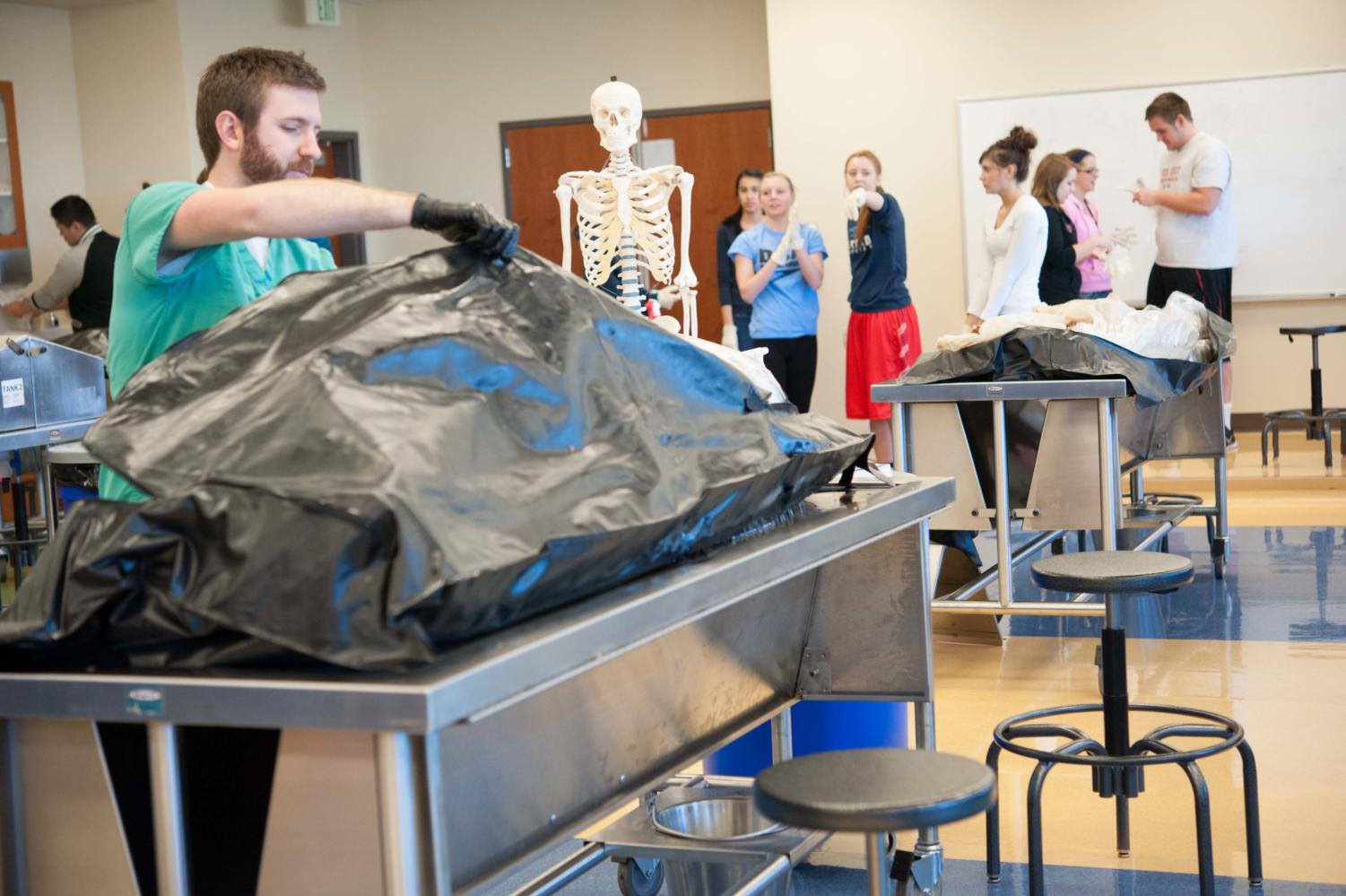Students from the medical careers class prepares themselves to see the cadaver which they will soon dissect.