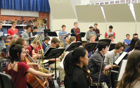 The cast of Bye Bye Birdie practiced with the pit orchestra for the first time on Feb. 14.