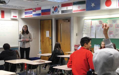 Andrea Aldridge teaches a class of freshmen English language learners.