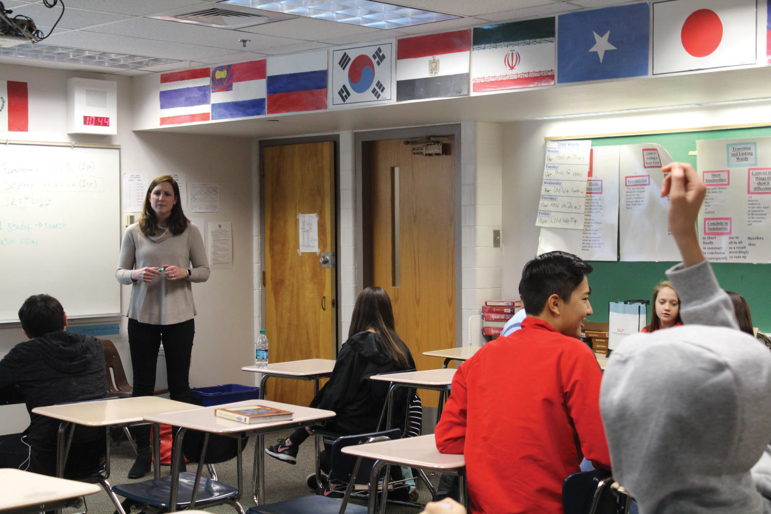 Andrea Aldridge teaches a class of freshmen English language learners.