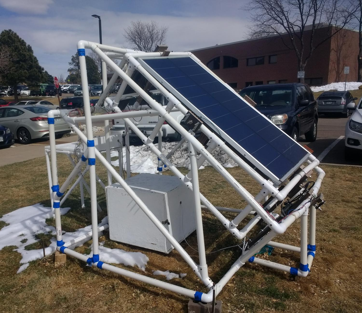 The solar panel will be used as a charging station for phones.