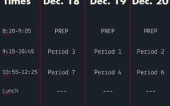 Finals schedule changes