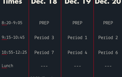 Finals schedule changes