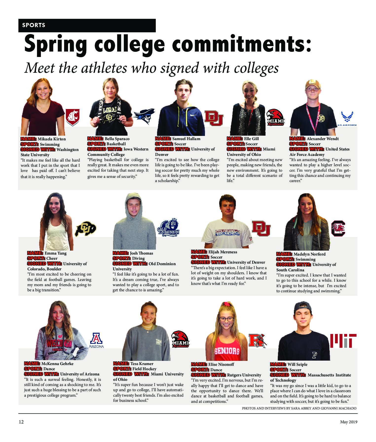 Meet the athletes who signed with colleges this spring