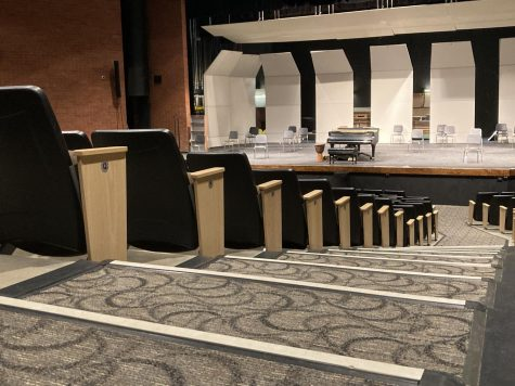 "EMPTY STAGE: the theater will remain empty for the remainder of the semester as the radio show will be recorded and listened to remotely. ""We wanted to keep making theater,"" said theater president Jen Failinger. ""It"
