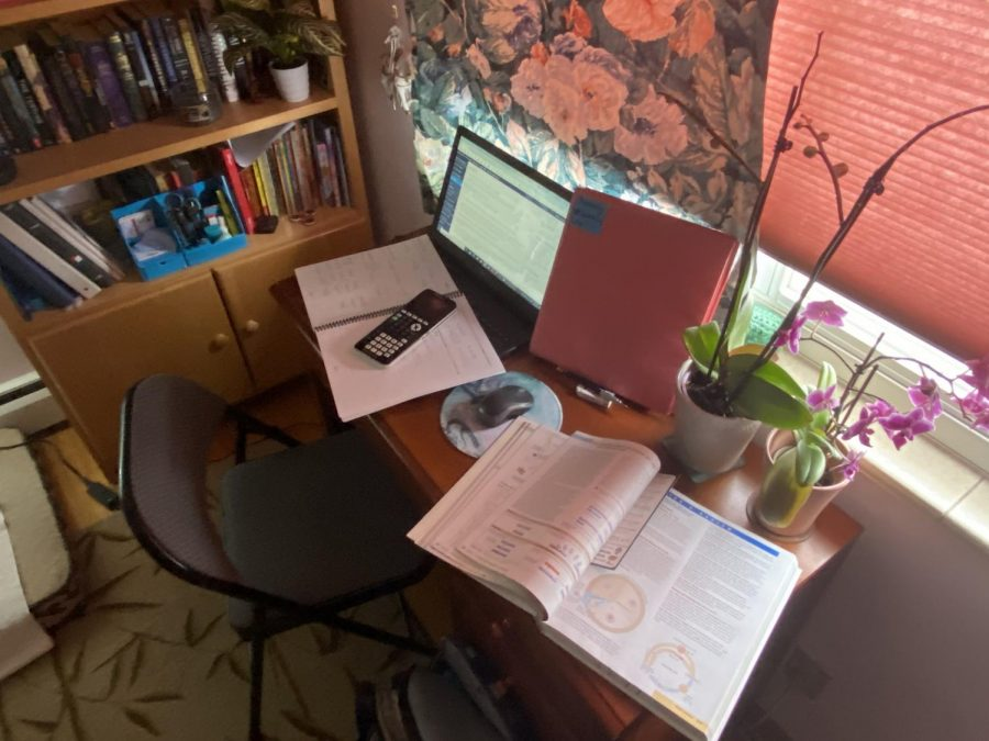 Madison Seckman's remote learning space - previously just a laptop to game on - is now a mess just like remote learning. Everything is pilling up, and it is hard to keep track of and make time for school assignments.