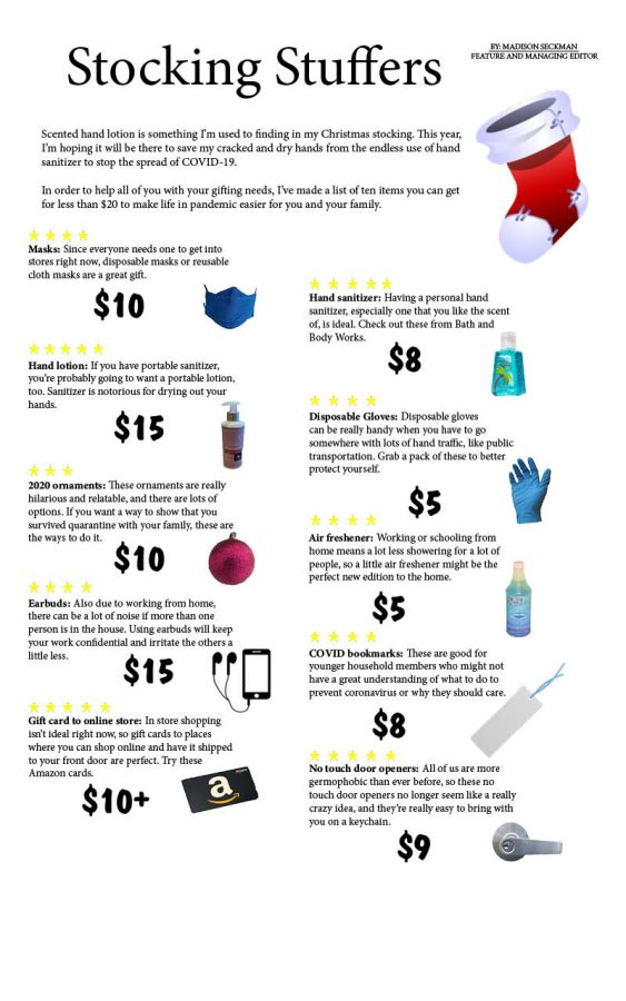 A quick infographic on the best stocking stuffers for 2020. These items are small and useful for keeping everyone safe. Use the links in the story to purchase the items.