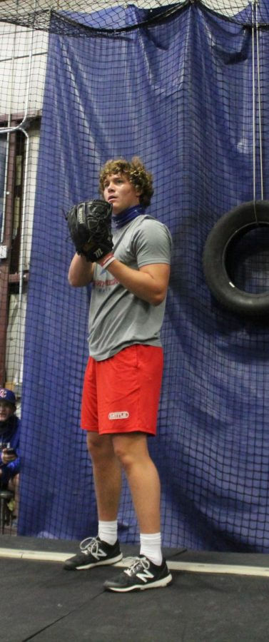 """Cooper Katskee, a junior pitcher, expressed that not being able to practice at Creek this year has been difficult. """"It's been hard,"""" Katskee said. """"The juniors and seniors only get about an hour, from nine to ten PM. In one hour you can't hit and throw a full bullpen."""""""