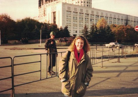 Young social studies Kristina Bybee studying abroad in Russia. This was taken in front of a destroyed and charred Belyy Dom, which is the Russian equivalent of the White House. In her time abroad, she experienced history in the form of communist and democratic rallies.