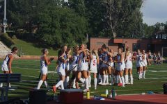 Cherry Creeks varsity Field Hockey team celebrates after scoring their first goal on 8/25 the first home game of the season against Palmer Ridge. They finished the game 1-1, the first tie of the season.
