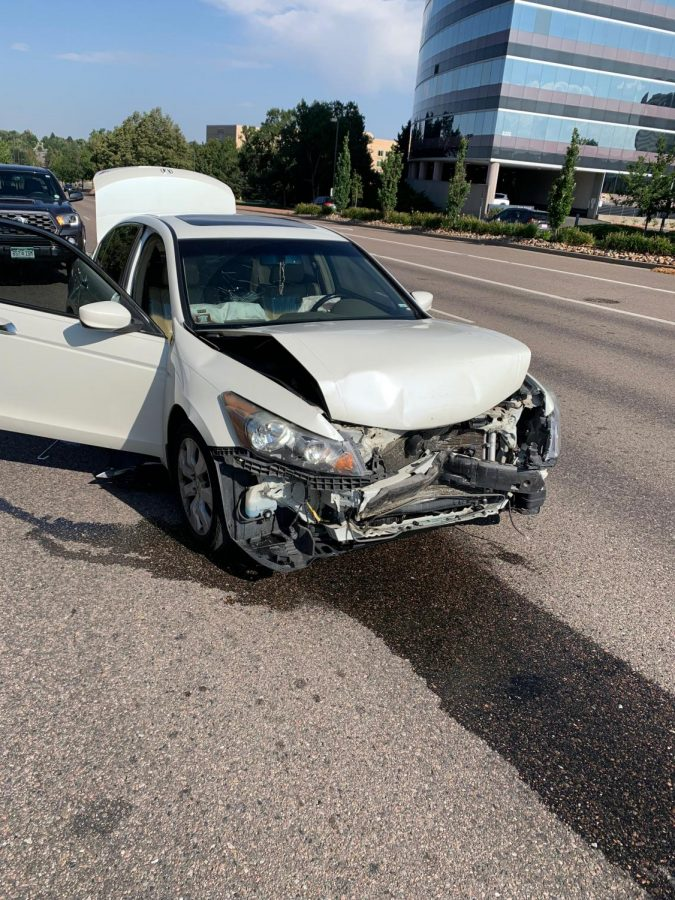 Junior Thomas Bourdeons car was totaled last week in a car accident. Many teens end up in similar accidents due to insufficient drivers training.