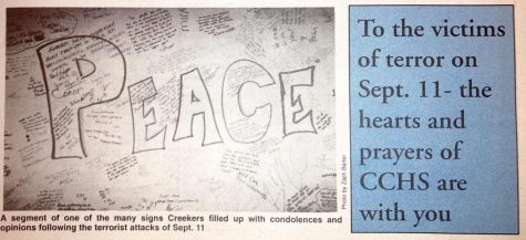 Messages to those affected by the 9/11 attacks featured on the bottom of the front page of The Union St. Journals Sep. 20, 2001 issue. Due to the long turnaround time of a high school newspaper, students were unable to feature more stories on 9/11 in the September issue, but filled the front page of the Oct, 18, 2001 issue (below) with 9/11-related articles. For teachers, supporting students – and figuring out how to manage their own emotions – was difficult. We were instructed that counselors would be available should anyone need to talk. It felt like a surreal kind of dream, math teacher Jim Padavic said. Once they [the Twin Towers] fell, there was a helplessness and sadness and disbelief that this could happen in America. The visuals of firemen and policemen volunteering to enter the towers to help followed by the collapse of the towers was gut-wrenching.