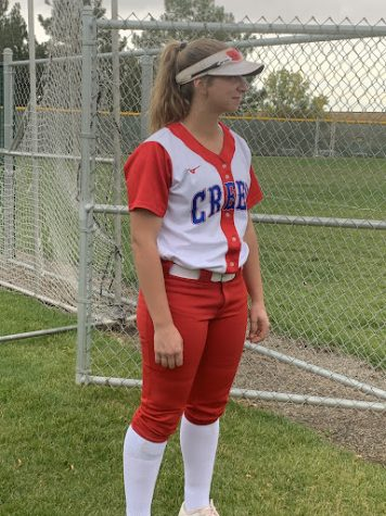Senior Amanda Licht in her Creek softball uniform.